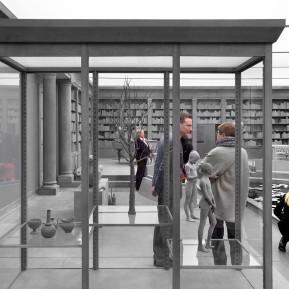 """Museum Kunstpalast Düsseldorf, Black+White - Von Dürer bis Eliasson, BesucherInnen in der skulpturalen Installation """"The Collector´s House"""" von Hans Op de Beeck, ganz rechts im Bild, Foto: © 2018 k.enderlein FOTOGRAFIE"""