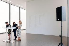 Ruhrtriennale-Intendantin Stefanie Carp, Bouchra Khalili und Kuratorin Carolin Hochleichter (v.l.n.r.) © 2018 k.enderlein FOTOGRAFIE