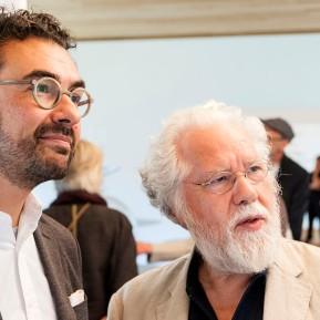 Stiftung Insel Hombroich, Remo Salvadori (rechts) im Siza Pavillon mit Prof. Oliver Kruse, Vorsitzender der Stiftung, © 2018 k.enderlein FOTOGRAFIE