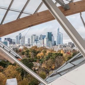 Fondation Louis Vuitton Paris, Blick vom Dach Richtung Europas größter Bürostadt La Défense, © 2018 k.enderlein FOTOGRAFIE