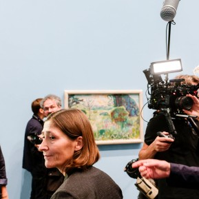 Edvard Munch im K20 - Pressekonferenz, Prof. Dr. Susanne Gaensheimer und Karl Ove Knausgård (vorne v.l.) © 2019 k.enderlein FOTOGRAFIE